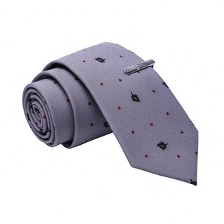 Skinny Tie Madness Men's Grey Patterned Cotton Skinny Tie with Tie Clip
