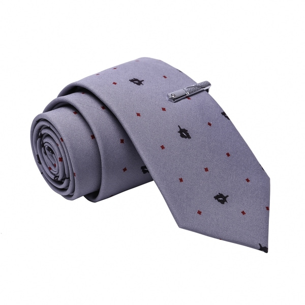 a28f0011872b Skinny Tie Madness Men's Grey Patterned Cotton Skinny Tie with ...