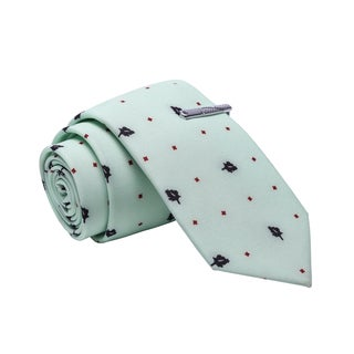 Skinny Tie Madness Men's Green Patterned Cotton Skinny Tie with Tie Clip