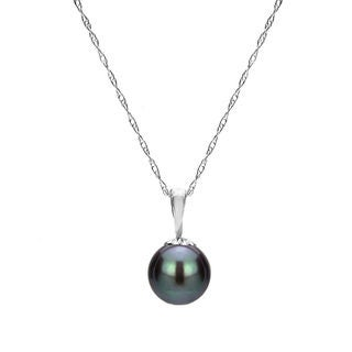 DaVonna 14k White Gold Black Round Freshwater Pearl Necklace Chain Pendant 18""