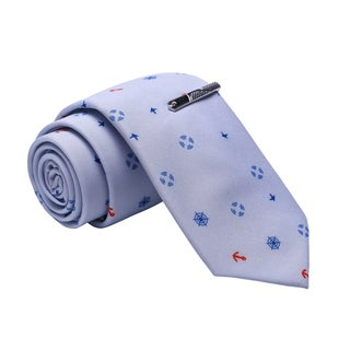 Skinny Tie Madness Men's Blue Patterned Cotton Skinny Tie with Tie Clip