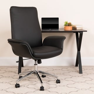 Mid-Back LeatherSoft Executive Swivel Office Chair with Flared Arms