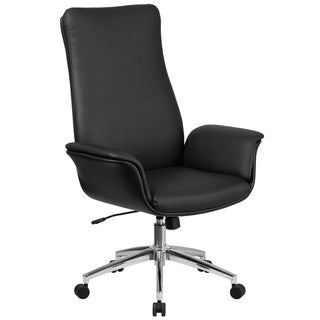 High Back LeatherSoft Executive Swivel Office Chair with Flared Arms