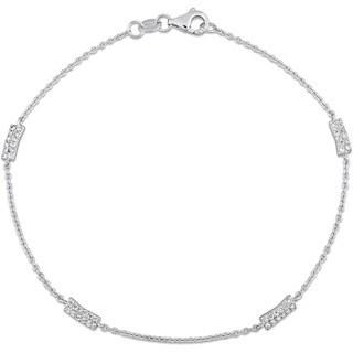 Miadora Signature Collection 18k White Gold 1/4ct TDW Diamond Cluster Bar Station Bracelet