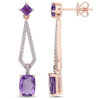 Miadora Signature Collection 14k Rose Gold Amethyst and 1/3ct TDW Diamond Geometric Dangle Earrings