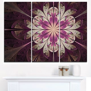 White Purple Rounded Fractal Flower - Large Floral Canvas Art Print (As Is Item)
