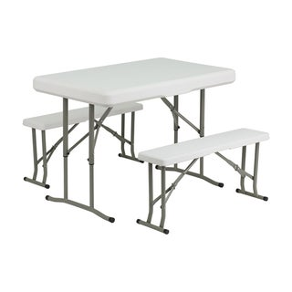 Offex Plastic Folding Table and Benches