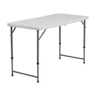 Offex 24 W x 48 L Height Adjustable Granite White Plastic Folding Table