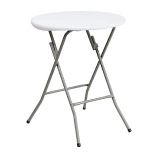 "Offex 24"" Round Granite White Plastic Folding Table"
