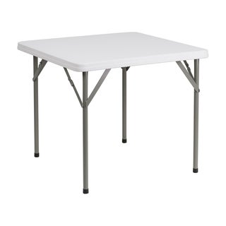 "Offex 34"" Square Granite White Plastic Folding Table"