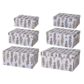 6-piece Albany Feather Motif Storage Boxes Set