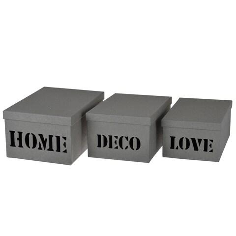 Ismay Grey Paper 3-piece Deco Storage Boxes
