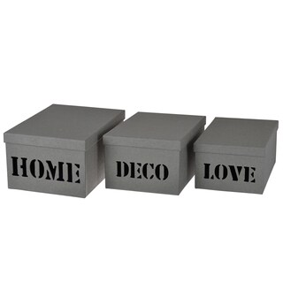 Ismay Grey Paper 3-piece Deco Storage Boxes