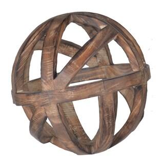 Brown Fir Wood 10-inch Decorative Ball