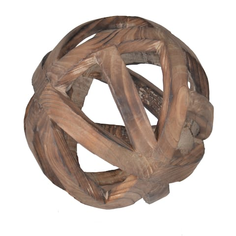 The Curated Nomad Brown Fir Wood 8-inch Decorative Ball