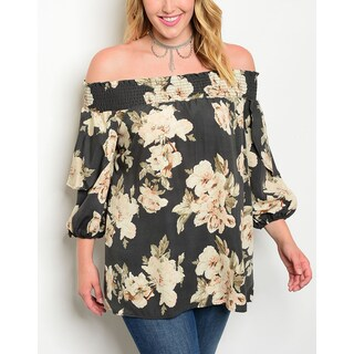 JED Women's Plus Size Charcoal and Cream Floral Off-Shoulder Tunic Top