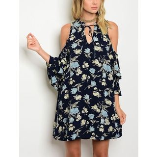 JED Women's Cold Shoulder Navy Ruffled Floral Dress