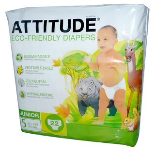 Attitude ATTI165012 Eco-Friendly Baby Diapers Size 5 (27+ lbs) - 22 Diaper(s) (6 pack)