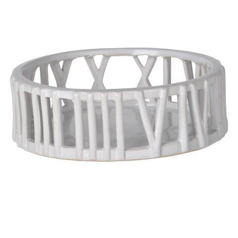 Metro White Ceramic Large D8 x 3 Centerpiece Tray