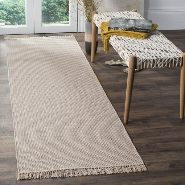 Safavieh Montauk Transitional Geometric Hand-Woven Cotton Ivory/ Grey Runner Rug (2'3 x 6')