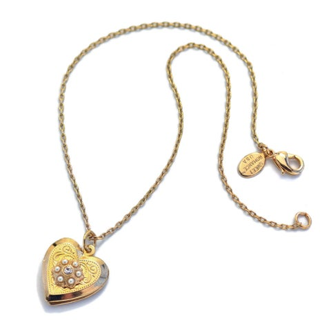Sweet Romance Little Girls Gold Heart Locket Necklace