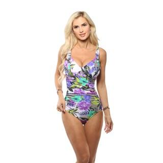 Magicsuit Purple Tropical Oasis Draped One-Piece