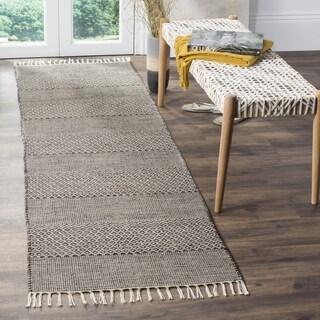Safavieh Montauk Transitional Geometric Hand-Woven Cotton Ivory/ Anthracite Runner Rug (2'3 x 6')