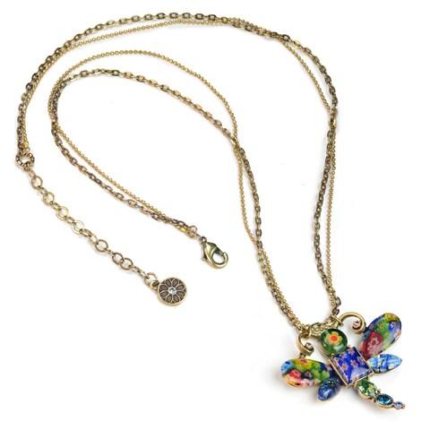 Sweet Romance Millefiori Glass Rainbow Dragonfly Pendant Necklace