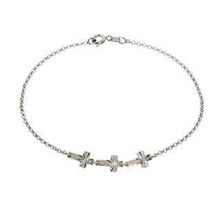 Eternally Haute Italian Solid Sterling Silver Diamond Cut Cross Bracelet