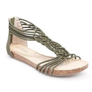 Adam Tucker Women's Cali Olive Suede Gladiator Sandal