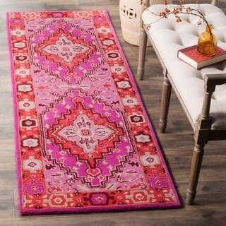 Safavieh Bellagio Contemporary Geometric Hand-Tufted Wool Red/ Pink Runner Rug (2'3 x 11')