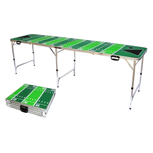 8' Folding Beer Pong Table with Bottle Opener, Ball Rack and 6 Pong Balls - Football Design - By Red Cup Pong