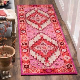 Safavieh Bellagio Contemporary Geometric Hand-Tufted Wool Red Pink/ Ivory Runner Rug (2'3 x 11')