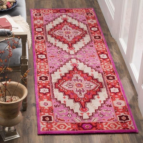 Safavieh Bellagio Contemporary Geometric Hand Tufted Wool Red Pink Ivory Runner Rug 2