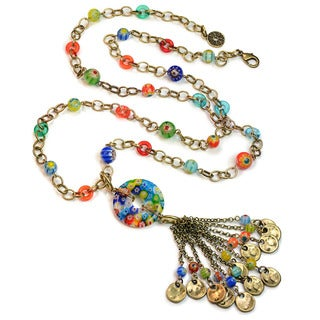 Sweet Romance Millefiori Glass Rainbow Bead Boho Tassel Necklace