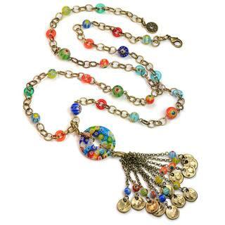 Sweet Romance Millefiori Glass Rainbow Bead Boho Tassel Necklace|https://ak1.ostkcdn.com/images/products/16430127/P22776059.jpg?impolicy=medium