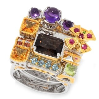 Michael Valitutti Palladium Silver Paris Stack Set of Four Multi Gem Stack Band Rings
