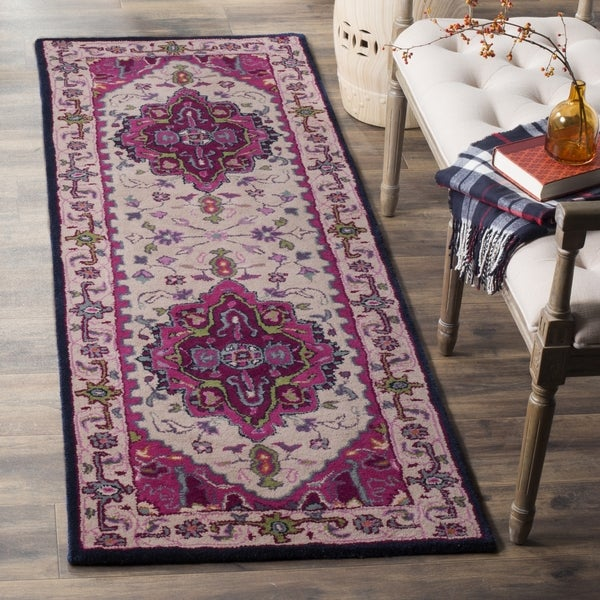 Safavieh Bellagio Contemporary Geometric Hand-Tufted Wool Ivory/ Pink Runner Rug (2'3 x 11')