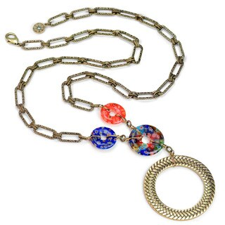 Sweet Romance Millefiori Glass Modern Circle Necklace