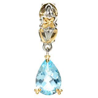 Michael Valitutti Palladium Silver Pear Shaped Swiss Blue Topaz Drop Charm