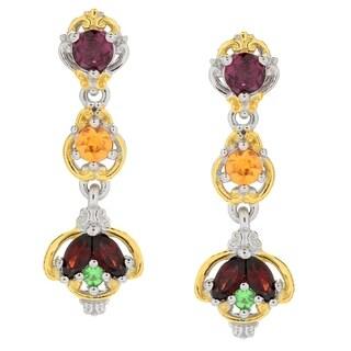 Michael Valitutti Palladium Silver Multi Color Garnet Linear Drop Earrings