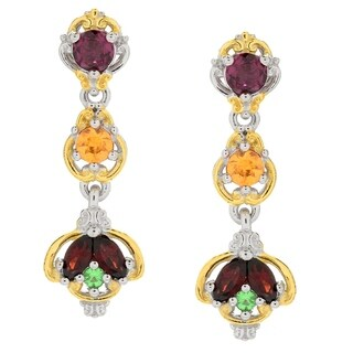 Michael Valitutti Palladium Silver Multi Color Garnet Linear Drop Earrings