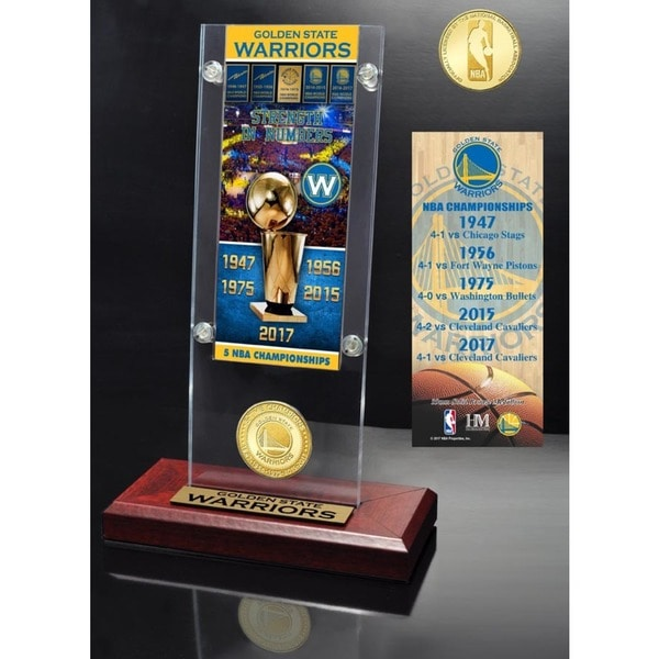 Golden State Warriors 5-Time NBA Champions Ticket & Bronze Coin Acrylic Desk Top