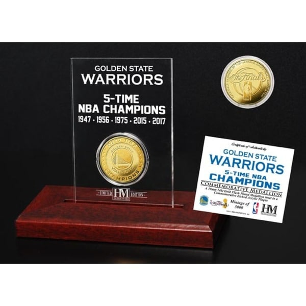 Golden State Warriors 5-Time NBA Champions Gold Coin Etched Acrylic
