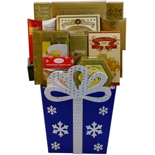 Joy To The Season Christmas Holiday Gift Basket, (Blue or Red)