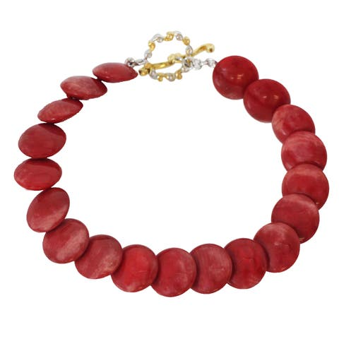 Michael Valitutti Palladium Silver Red Bamboo Coral Bead Toggle Bracelet