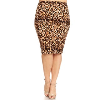 Women's Plus Size Cheetah Pattern Pencil Skirt