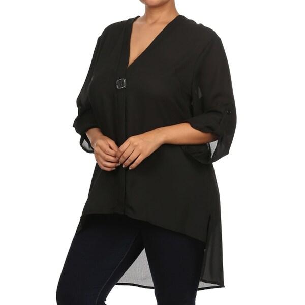 Shop Women S Plus Size Black Semi Sheer V Neck Blouse Free