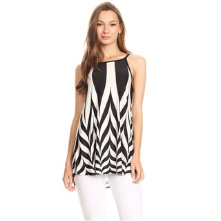 Women's Sleeveless Black and White Chevron Top