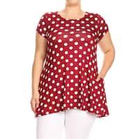 Women's Plus Size Red Polka Dot Tunic Top